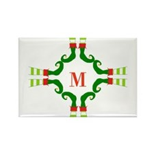 Personalizable Christmas Elf Feet Initial Magnets