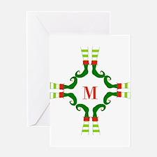 Personalizable Christmas Elf Feet Initial Greeting