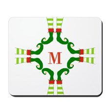 Personalizable Christmas Elf Feet Initial Mousepad
