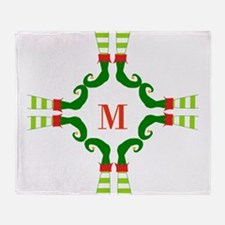 Personalizable Christmas Elf Feet Initial Throw Bl