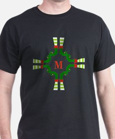 Personalizable Christmas Elf Feet Initial T-Shirt