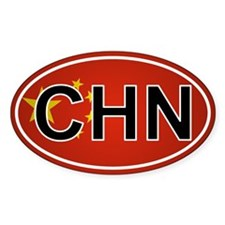 Chn - China Oval Car Sticker Flag Design