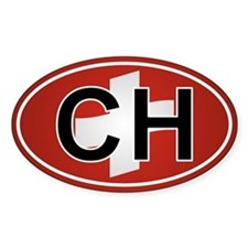 Ch - Switzerland Oval Car Sticker Flag Design