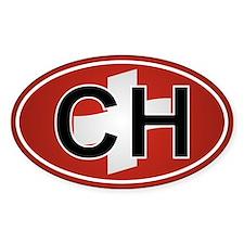 Ch - Switzerland Oval Car Sticker Flag Design