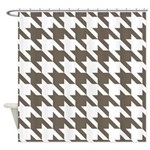 Houndstooth Brown Shower Curtain