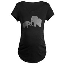 Cute Elephants Mom and Baby Maternity T-Shirt