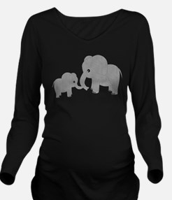 Cute Elephants Mom and Baby Long Sleeve Maternity