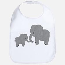 Cute Elephants Mom and Baby Bib