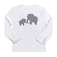 Cute Elephants Mom and Baby Long Sleeve T-Shirt