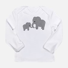 Cute Elephants Mom and Baby Long Sleeve T-Shirt