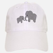 Cute Elephants Mom and Baby Baseball Baseball Baseball Cap
