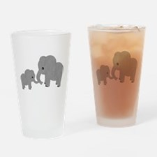 Cute Elephants Mom and Baby Drinking Glass