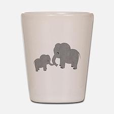 Cute Elephants Mom and Baby Shot Glass