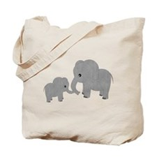 Cute Elephants Mom and Baby Tote Bag