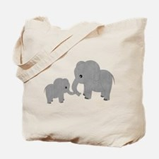 Cute Elephants Mom and Baby Tote Bag
