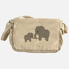 Cute Elephants Mom and Baby Messenger Bag