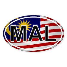 Mal - Malaysia Oval Sticker Flag Design