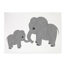 Cute Elephants Mom and Baby 5'x7'Area Rug
