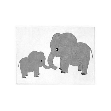 Cute Elephants Mom And Baby 5u0027x7u0027Area Rug