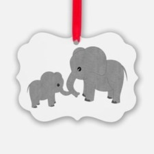 Cute Elephants Mom and Baby Ornament