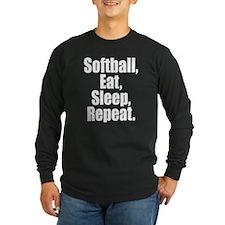 Softball Eat Sleep Repeat Long Sleeve T-Shirt