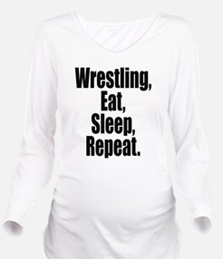 Wrestling Eat Sleep Repeat Long Sleeve Maternity T