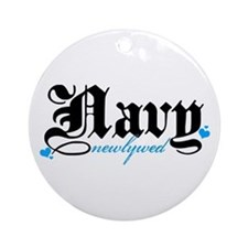 Navy Newlywed Ornament (Round)