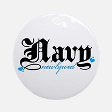 Navy Newlywed Ornament (Round)