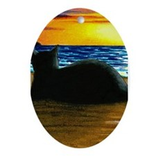 Unique Black cat Ornament (Oval)