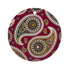 red paisley Ornament (Round)