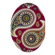red paisley Ornament (Oval)