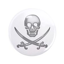 "Glassy Skull and Cross Swords 3.5"" Button"