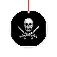 Glassy Skull and Cross Swords Ornament (Round)