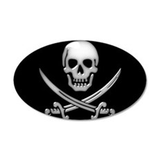 Glassy Skull and Cross Swords Wall Decal