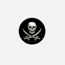 Glassy Skull and Cross Swords Mini Button (10 pack