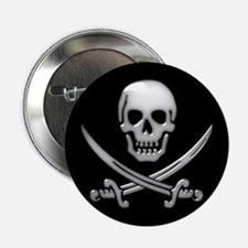 "Glassy Skull and Cross Swords 2.25"" Button"