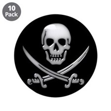 "Glassy Skull and Cross Swords 3.5"" Button (10 pack"