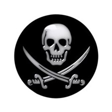 "Glassy Skull and Cross Swords 3.5"" Button"