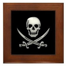 Glassy Skull and Cross Swords Framed Tile