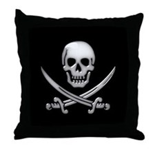 Glassy Skull and Cross Swords Throw Pillow