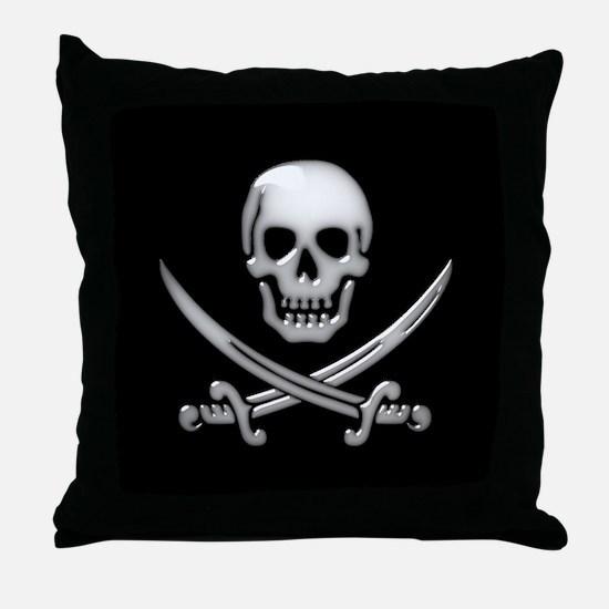 Glassy Skull and Cross Swords Throw Pillow