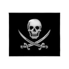 Glassy Skull and Cross Swords Throw Blanket