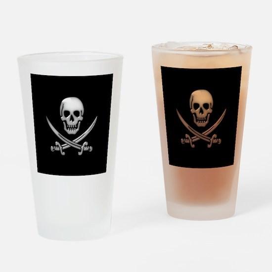 Glassy Skull and Cross Swords Drinking Glass