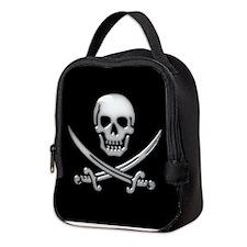 Glassy Skull and Cross Swords Neoprene Lunch Bag