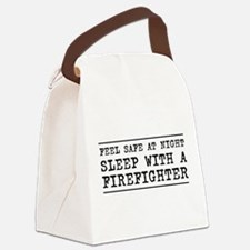 Sleep with a firefighter Canvas Lunch Bag