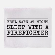 Sleep with a firefighter Throw Blanket