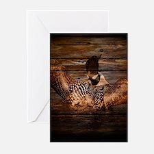 barnwood wild loon Greeting Cards
