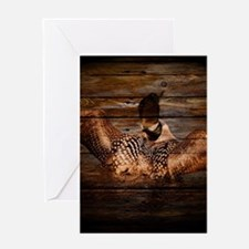 barnwood wild loon Greeting Cards