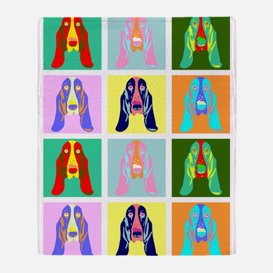 Basset Hound Pop Art Throw Blanket