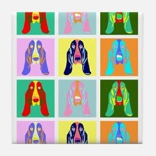 Basset Hound Pop Art Tile Coaster